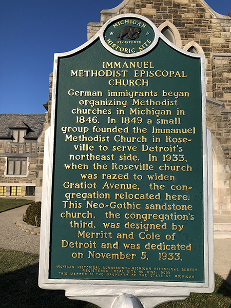 Immanuel Methodist Episcopal Church 1933 Michigan Historical Site